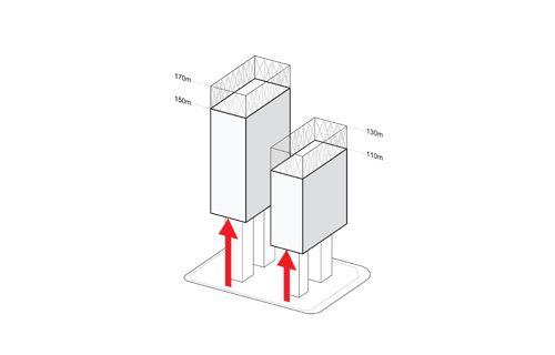 Massing diagram clc msfl towers rex architecture pc for Rex architecture p c