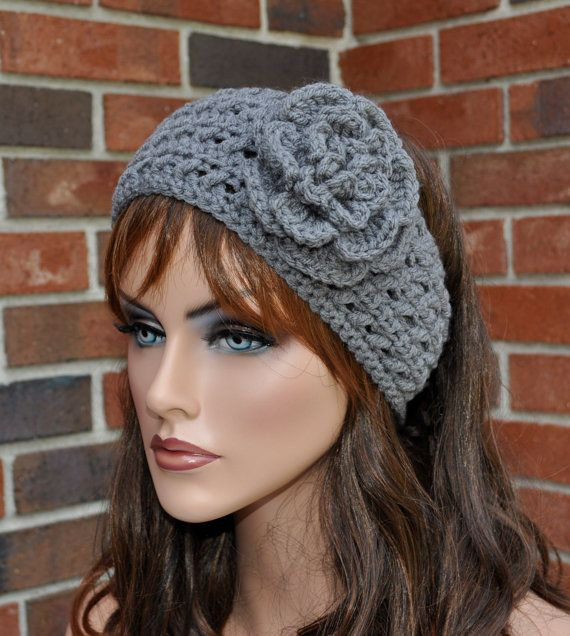 Crochet Patterns Headband Ear Warmer : Crochet Ear Warmer, Crochet Headband with Flower,Gray Head wrap. Style ...