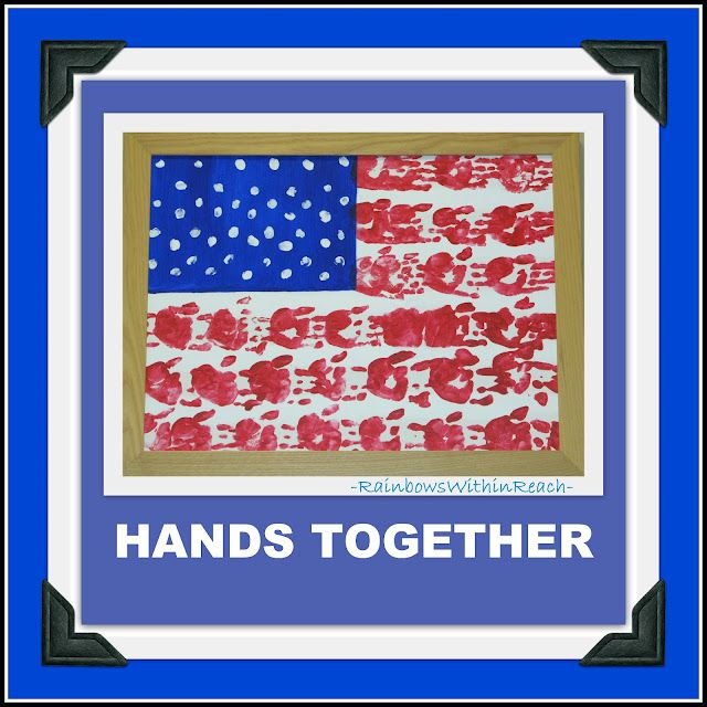 American Flag of painted handprints