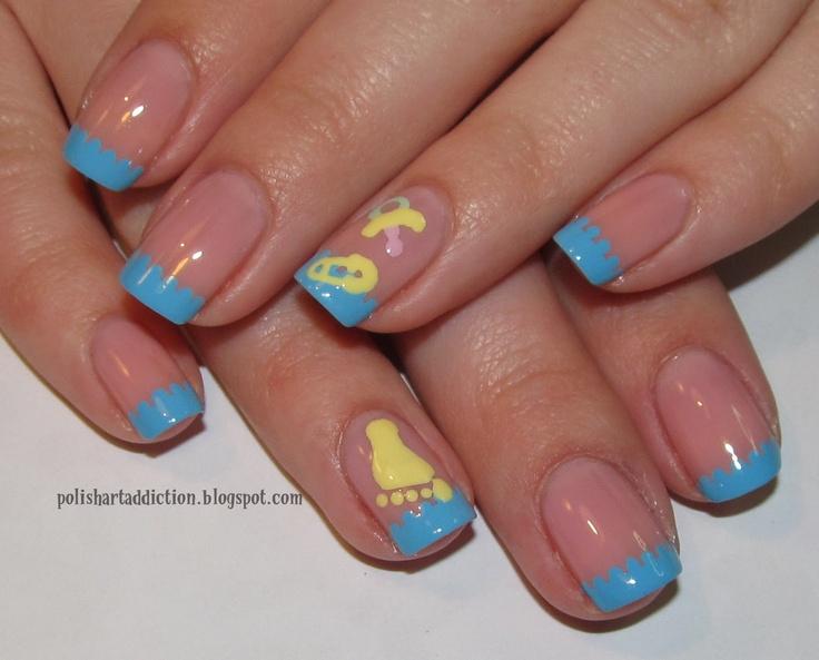 Baby inspired nail designs baby shower nail art boy or girl