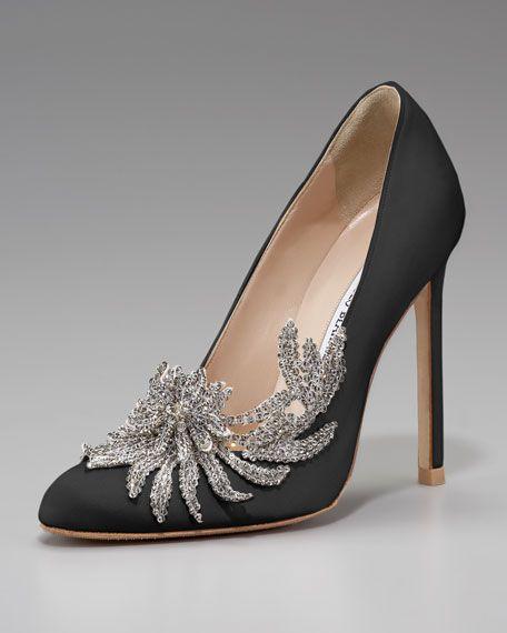 Manolo Blahnik: Swan Embellished Satin Pump   $1,295.00