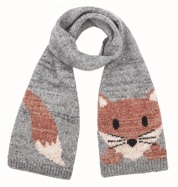 Fox Scarf Knitting Pattern : Accessorize Knitted Fox Instarsia Scarf sewing crafts Pinterest