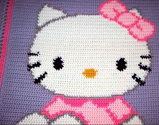 Crochet Patterns For Hello Kitty : Crocheted Hello Kitty Blanket crochet Pinterest