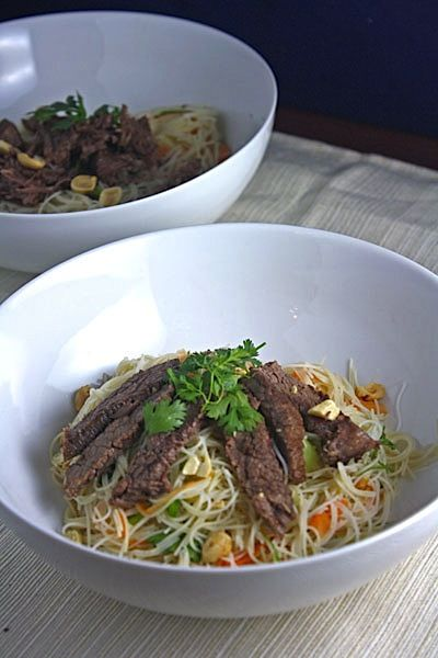 VIETNAMESE BRAISED BEEF OVER RICE NOODLE SALAD