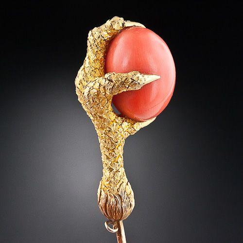 Античный 18-каратного желтого золота и кораллов Stickpin