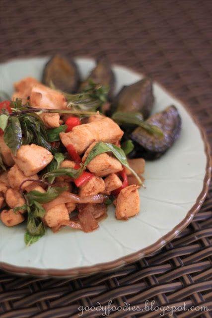 Northern Thai speciality, stir fried chicken with century eggs.