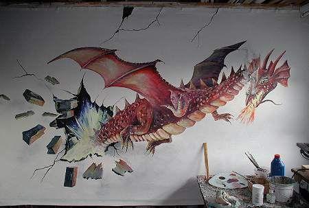 Mural of dragon on bedroom wall   Murales e ilustraciones ...