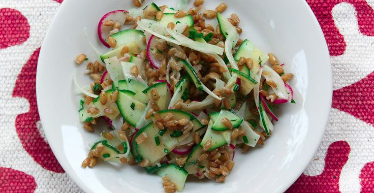 Farro Salad with a herb buttermilk dressing - Chef Elyse Prince