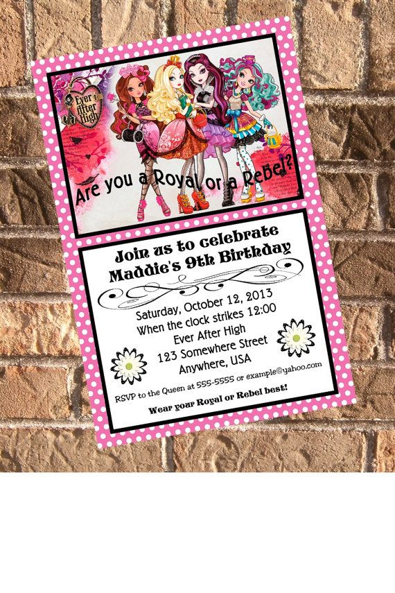 Ever After High Birthday Party Invitation with Free by Design13, $10