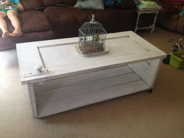 old door turned into a coffee table my completed