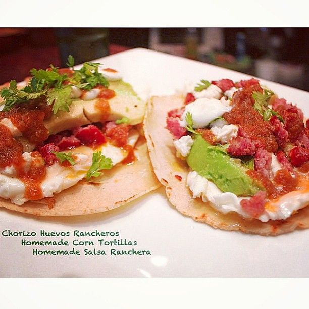 Chorizo huevos rancheros, corn tortillas & salsa ranchera are home ...