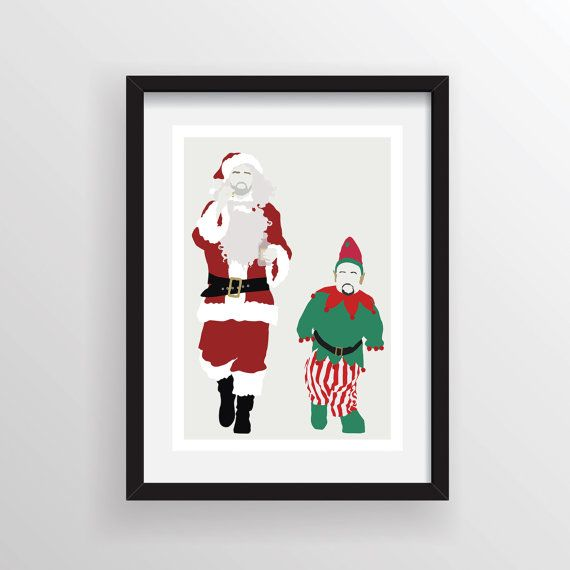Bad santa minimalist poster print minimal wall art for Bad christmas decoration