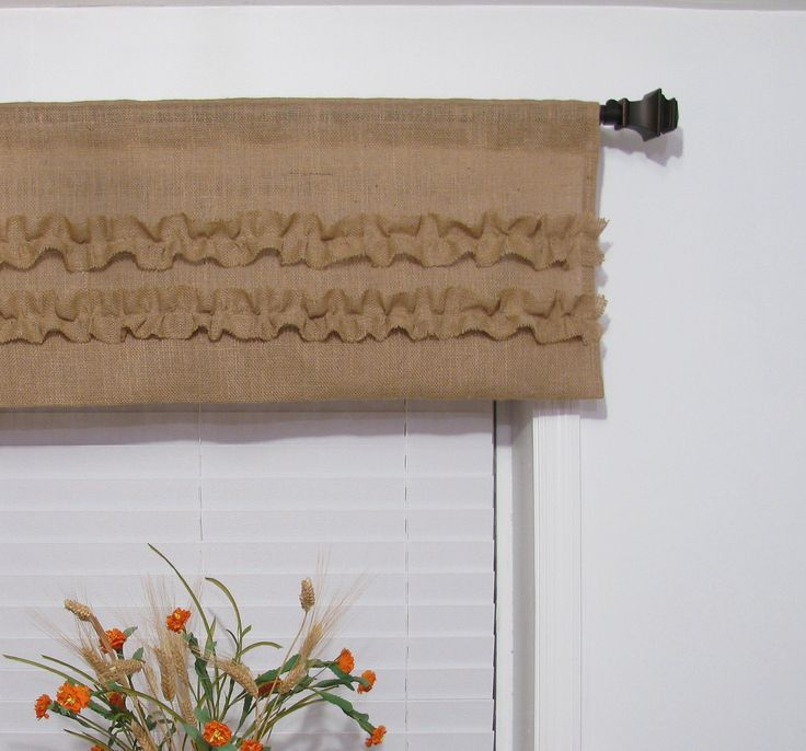 Burlap Ruffled Valance Rustic Curtain. I could totally do this, right ...