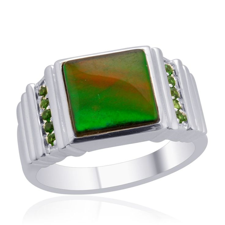 Liquidation Channel | Canadian Ammolite and Russian Diopside Men's Ring in Sterling Silver (Nickel Free)