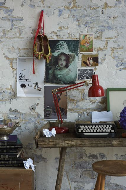 Curtain Road Studios Revealed.  Brick wall styling via Lifeunstyled blog.