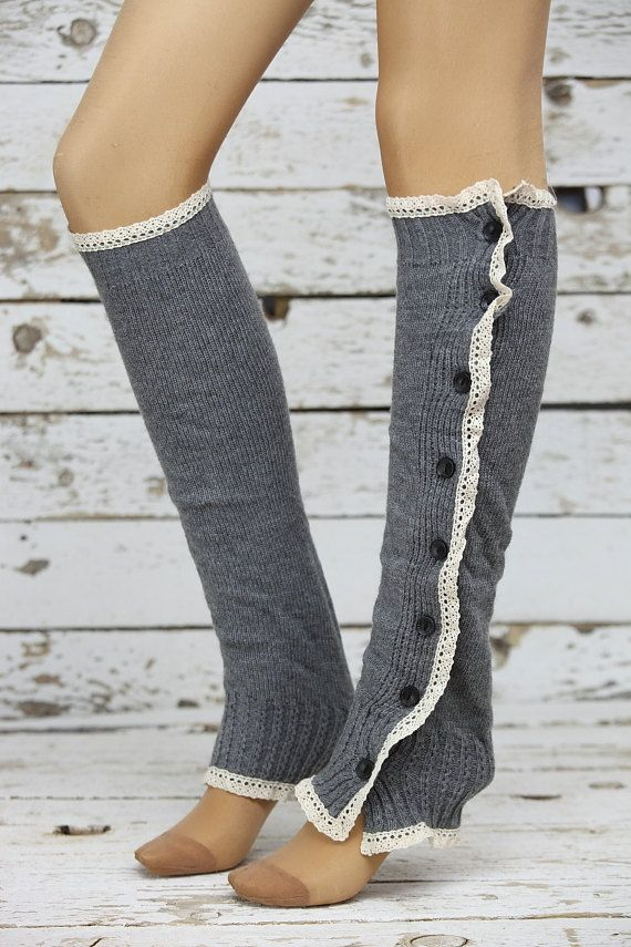 Gray cable knit slouchy open button down lace leg warmers knit lace