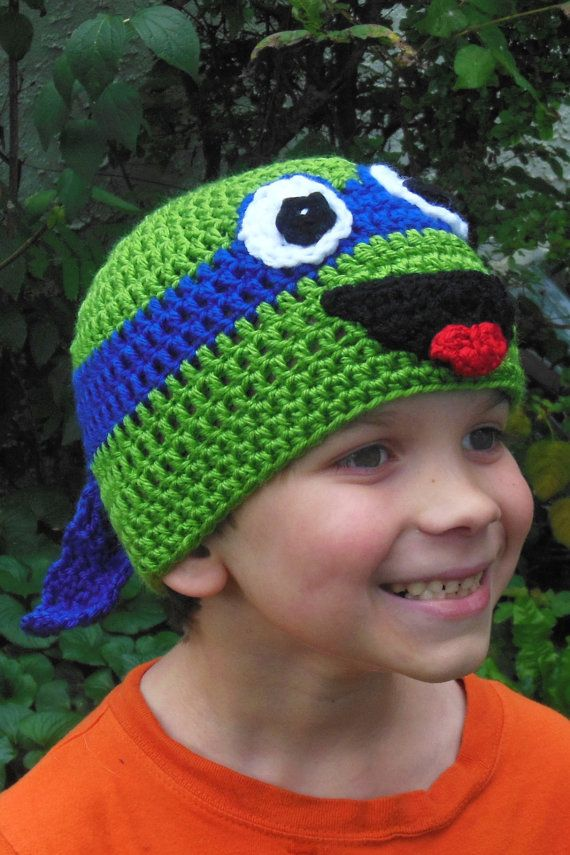 Crochet Ninja Turtle : Crochet Teenage Mutant Ninja Turtle hat Child by BellaBeansCrochet, $ ...