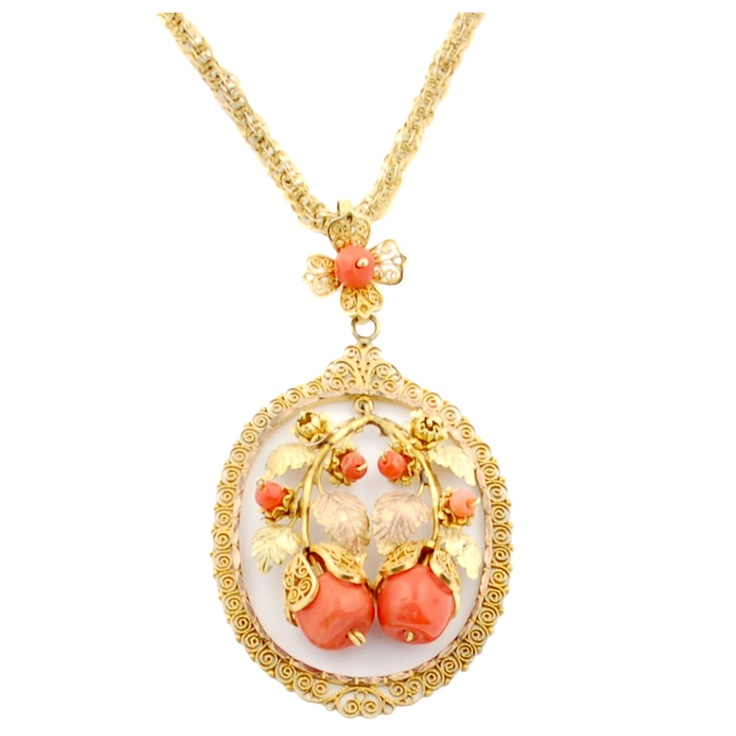 Hand Made 12k Золото филигранью и коралловое ожерелье - Мексика в.  Начале 20 века