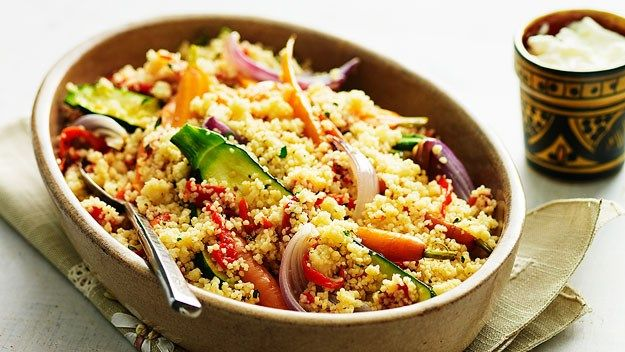 Roasted Garlic Couscous With Tomatoes, Dill, Onion, And Spinach Recipe ...