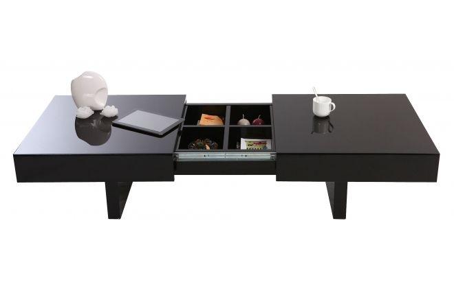 soldes Table basse design GISSY laqu?e noire plateaux ouvrants prix