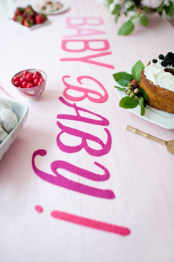 Cute way to DIY personalize the tablecloth for a party!