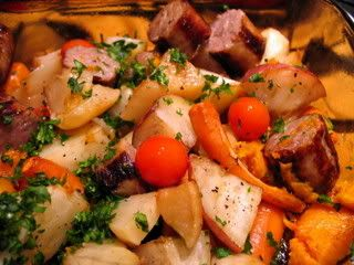 Cumberland Sausages With Roasted Root Vegetables Recipes — Dishmaps