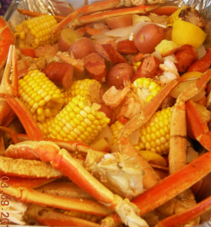 ... potatoes, corn, onions, garlic, sausage, shrimp and CRAB. Boil for