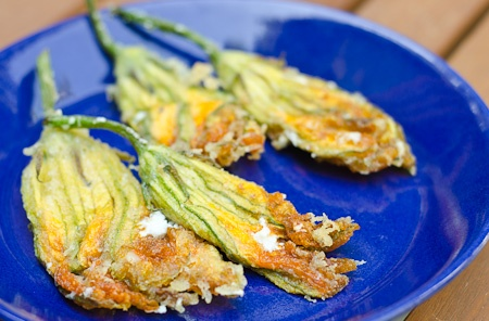 Goat cheese-stuffed zucchini blossoms. I've wanted to try these for ...