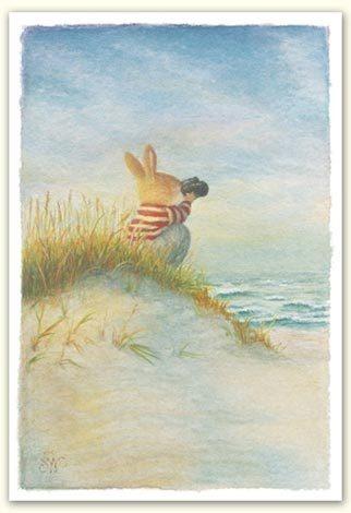 Susan Wheeler Holly Pond Hill Bunny Rabbit Ocean Sea Beach Thinking Of You Card | eBay