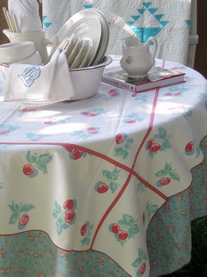 vintage tablecloth linens in aqua, red and white