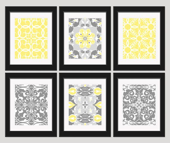 yellow gray wall art yellow art bedroom art home decor. Black Bedroom Furniture Sets. Home Design Ideas
