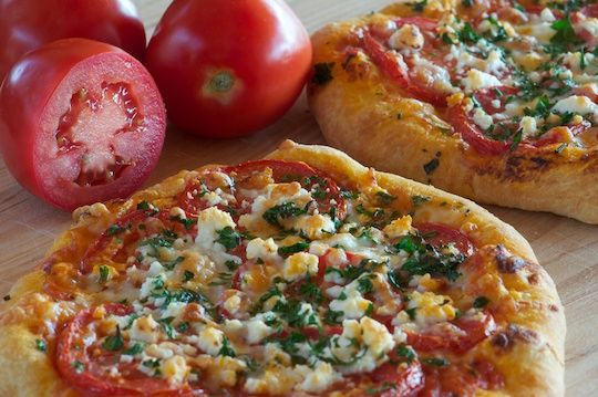 Pizza With Tomatoes, Basil and Goat Cheese - Olive Oil and Lemons