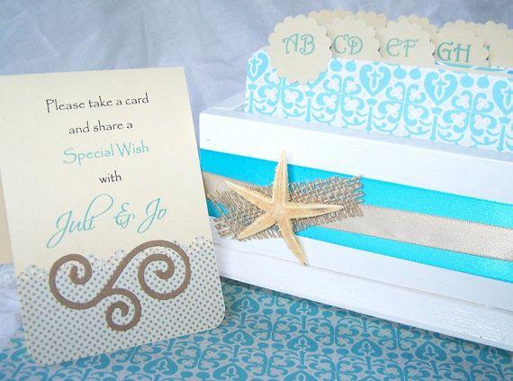 wedding guest book box beach theme aqua blue and sand beige starf
