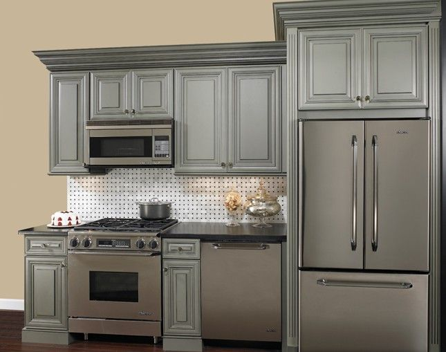 grey cabinets with black granite  Decorating and Renovating Ideas
