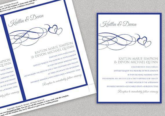 royal blue wedding invitation blank templates matik for. Black Bedroom Furniture Sets. Home Design Ideas