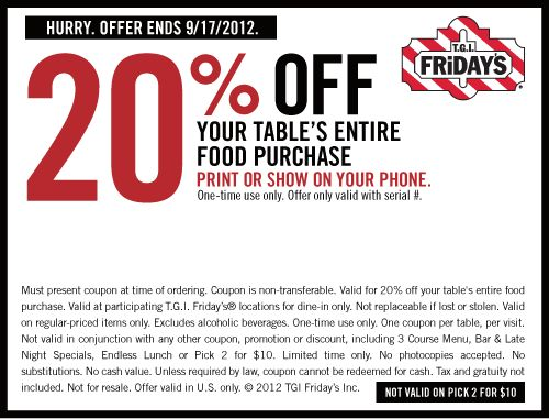 Tgi friday's 2 for 20 coupon