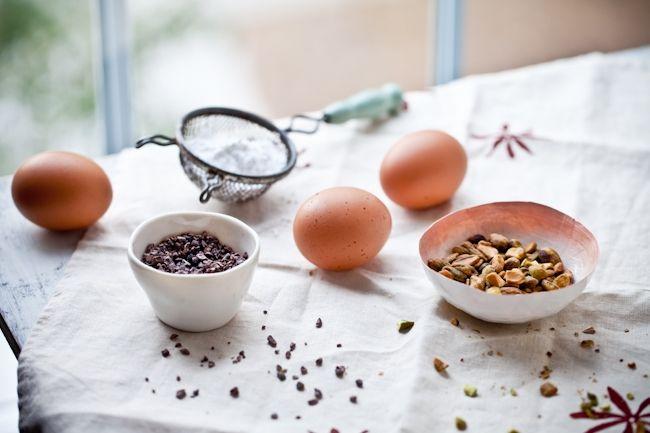 Tartelette: Pistachio - Cocoa Nib Macarons With Bourbon Buttercream