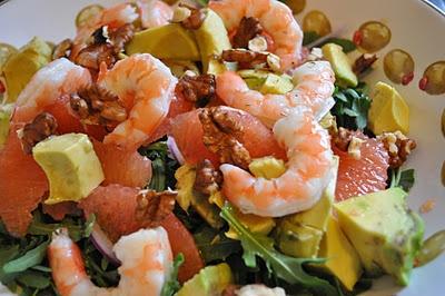 prawn, pink grapefruit, avocado and walnut salad