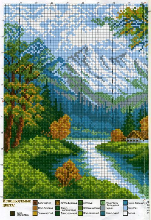 Как вышивать по схеме пейзаж