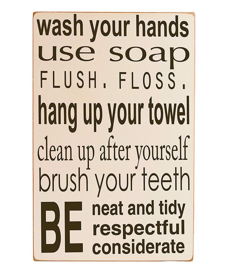 Bathroom Rules Wall Decor : Cream bathroom rules wall art