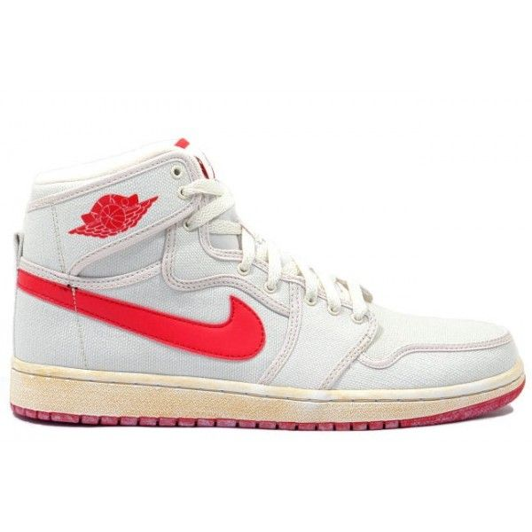 Retro Mens Basketball Shoes KO Hi White Red A01018 UK Outlet Online