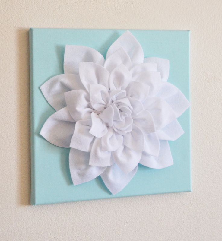 Wall flower white dahlia on aqua 12 x12 canvas wall art for 3d flowers for wall decoration