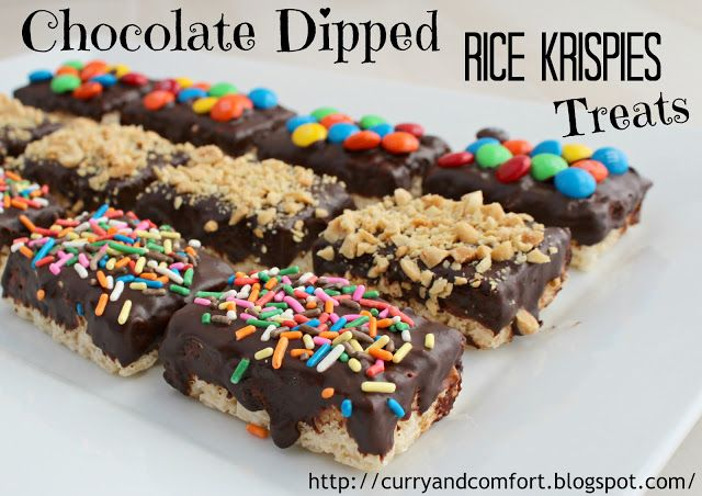 Chocolate Dipped Rice Krispies Treats | Cereal | Pinterest