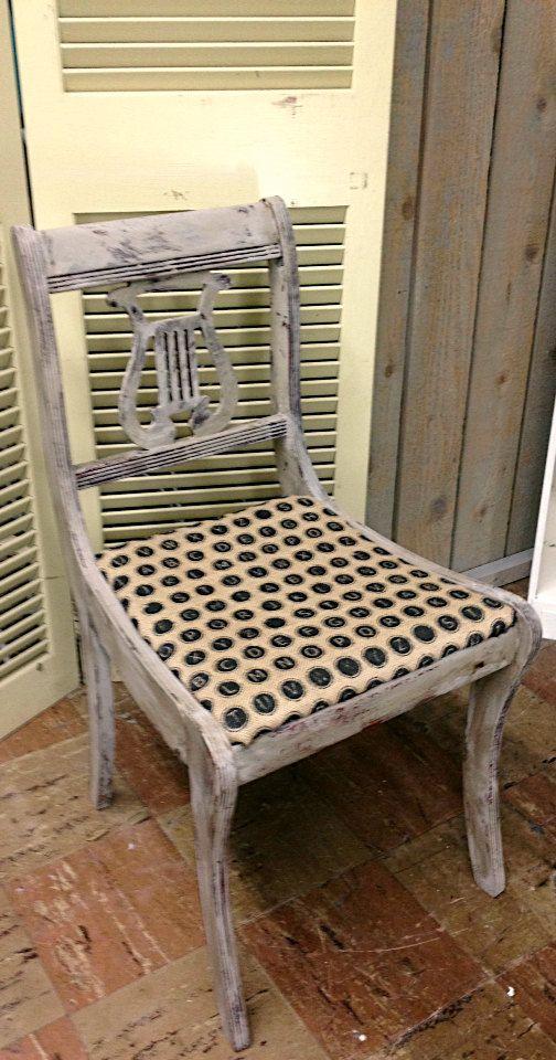 Vintage Antique Harp Dining Room Chairs Set 2 Chalk Paint Paris Grey
