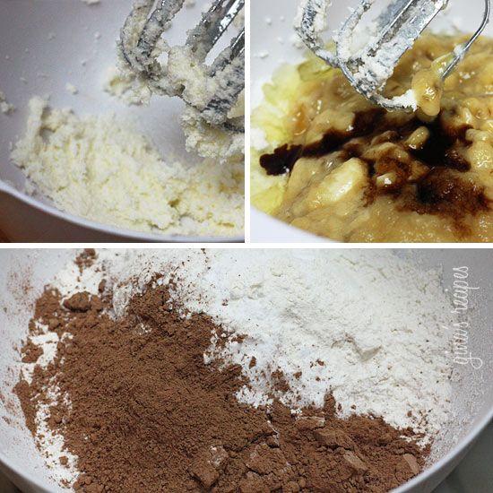Chocolate Chocolate Chip Banana Muffins with Glaze | Recipe