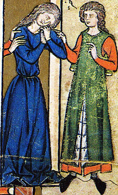 Two totally different styles of female dress... or a lady on the left and a dude with long, girly hair. From the Maciejowski / Morgan Bible (13th c. French)