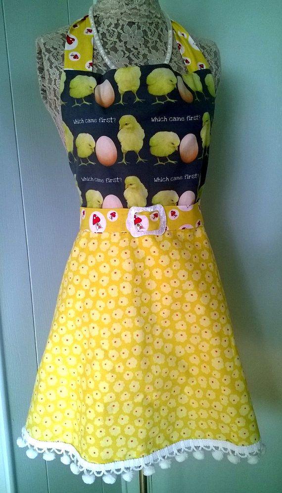 Crochet Egg Apron : Chicks and Eggs Full Apron with Darling Pom-Pom trim and Mushroom Pri ...