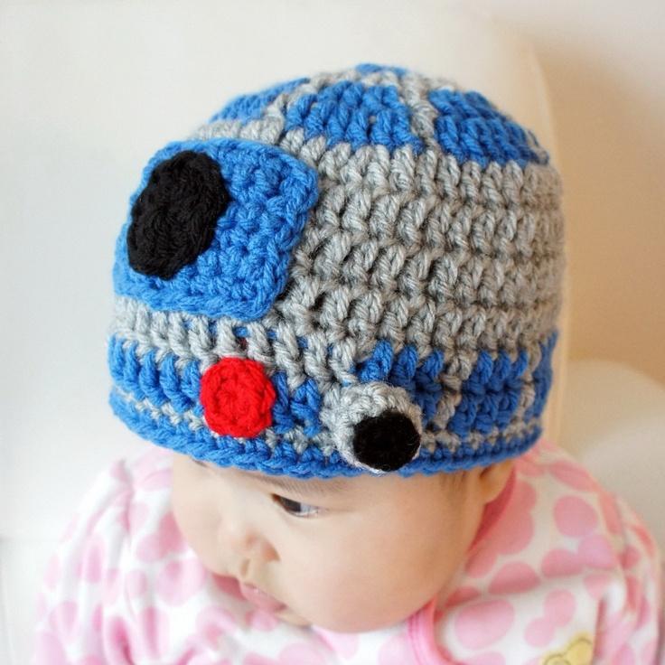 R2d2 Hat Knitting Pattern : R2D2 hat, Star Wars hat, Crochet R2-D2 Hat, Crochet Baby Hat, Robot,