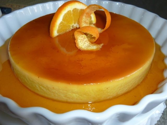 Orange flan... all egg yolks... they come out sooo silky smooth w/out ...