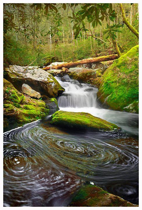 """Swirling Fork Falls"" (Roaring Brook in the Great Smoky Mountains) by joerossbach"